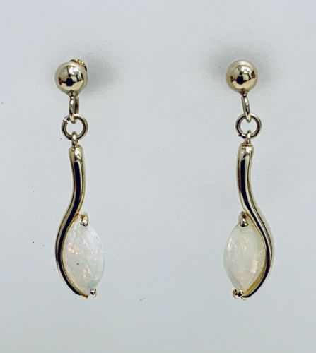 Yellow Gold Opal Marquise Drop Earrings